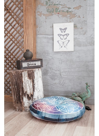 home-bath Dekoratif Yer Minderi Flower of Life Renkli